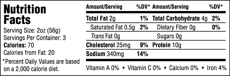Natural Diced Oven Cooked Ham Nutrition Information