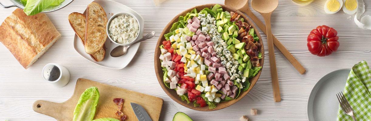 Salad preparation with cubed ham