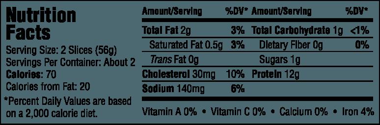 Natural Seasoned Roast Beef Nutrition Information