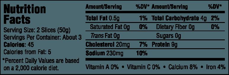Natural Honey Smoked Turkey Nutrition Information